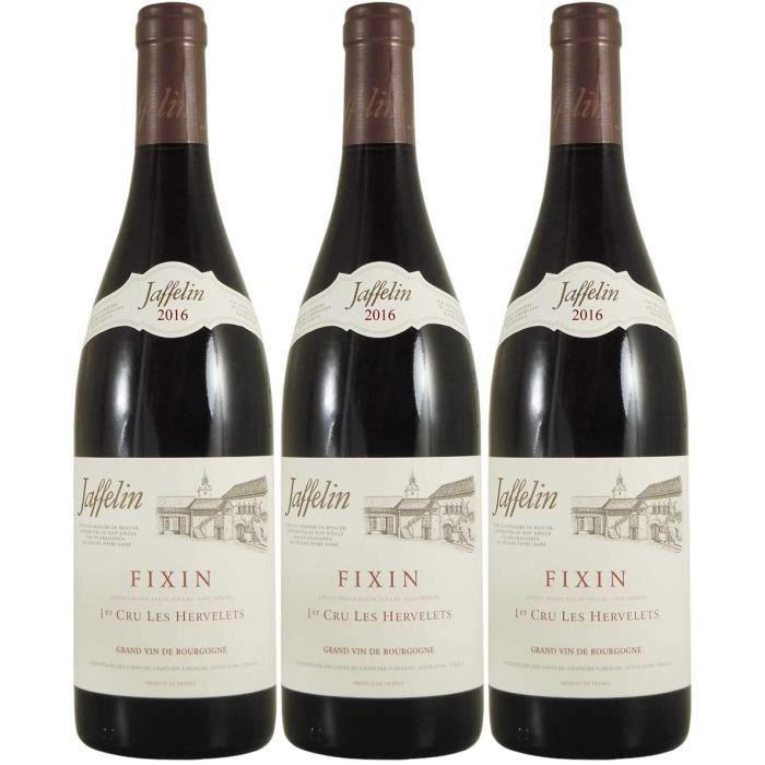 VIN ROUGE Fixin 1er Cru Hervelets Rouge 2016 - Jaffelin - Vin AOC Rouge de Bourgogne - C&eacutepage Pinot Noir - Lot de 3x75cl558