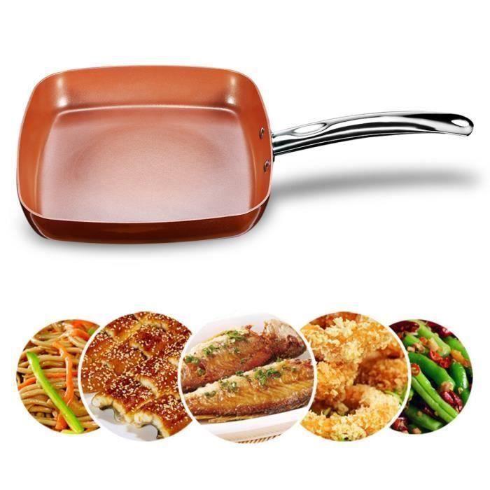 Poêle à cuire plate carrée antiadhésive en Céramique et Cuivre avec poignée en acier inoxydable COS17193