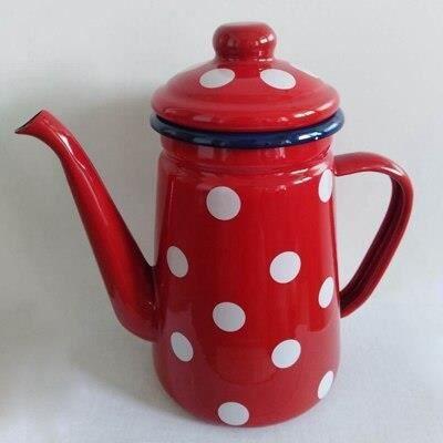 Café Pots,Bouilloire en émail de haute qualité 1L Cafetière cafétera de haute qualité, bouilloire, pichet - Type Red White Dot
