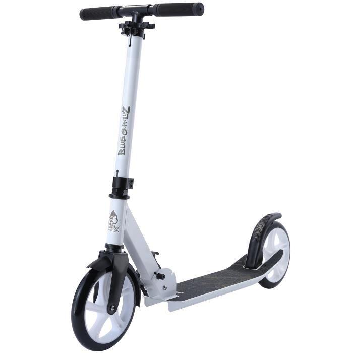 BLUE-GORILLAZ - Patinette-Trottinette - 205mm - pour enfants de 8 ans - City Scooter Low Rider - garçons et filles - Blanc