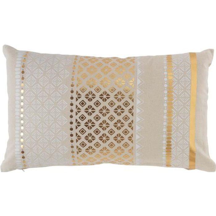 coussin dehoussable 30 x 50 cm en coton imprimé or Gaya