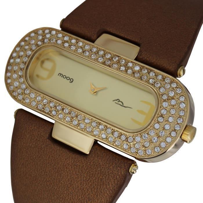 Montre Femme Moog Paris Glam avec Cadran Doré, Eléments Swarovski, Bracelet Marron en Cuir Véritable - M44088-011
