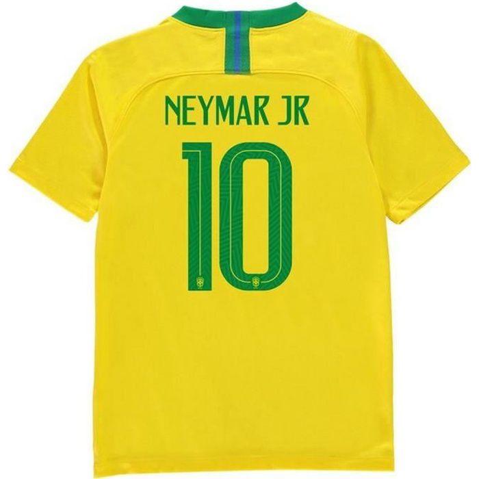 Maillot Officiel Enfant Nike Brésil Home Coupe du Monde de Football 2018 Neymar Numéro 10