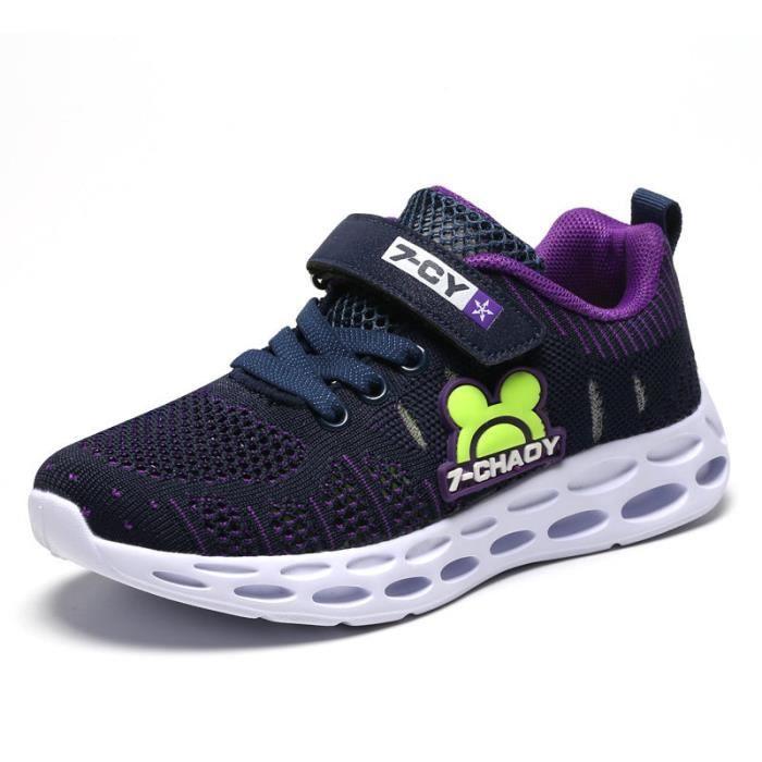 Chaussures de Sport Baskets Enfant Garcon-Fille Respirant Chaussures Plates Velcro de Running Outdoor
