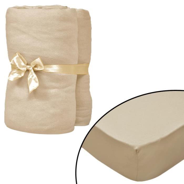 Drap-housse 2 pcs 120 x 200 cm Jersey de coton Beige