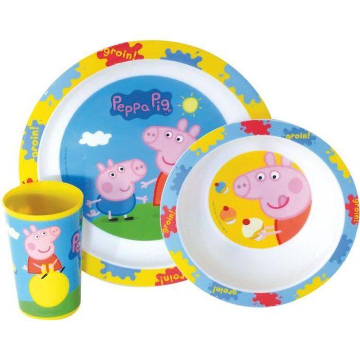 Fun House Peppa Pig ensemble repas comprenant 1 assiette, 1 verre et 1 bol pour enfant
