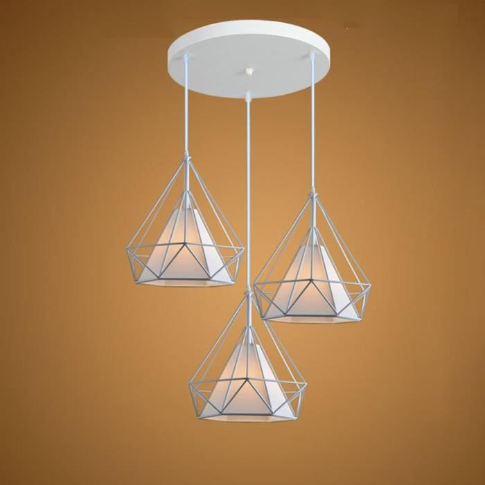 Blanc Suspension Cage forme Diamant 3 Douille E27 Contemporain 25cm Luminaire Cuisine Salons Salle à Manger,Bar