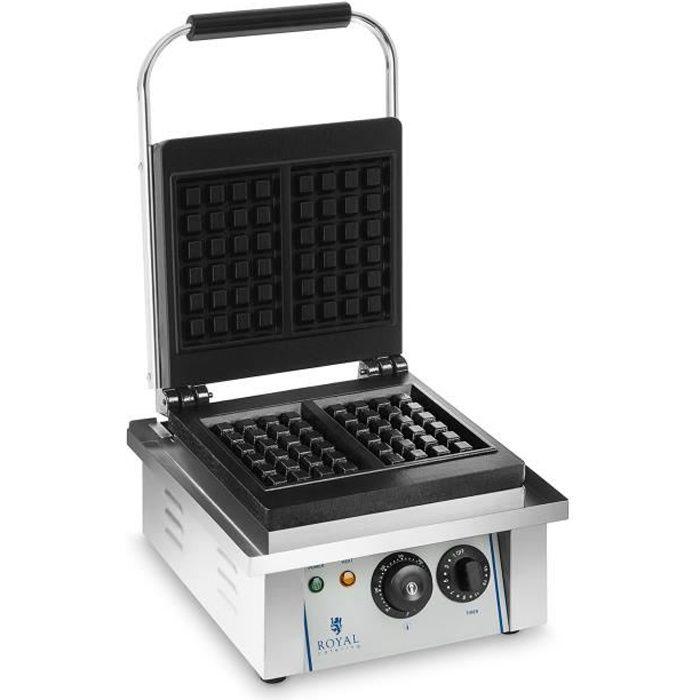 Gaufrier Électrique Pro Inox Gaufres Belges 2000W Gastro Minuteur 15 Min Dimensions 37x32x50cm Royal Catering RCWM-2000-E