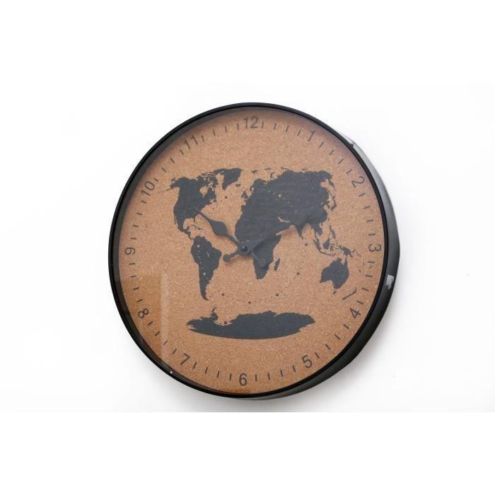 Horloge liège voyage - 35 cm - Noir et naturel