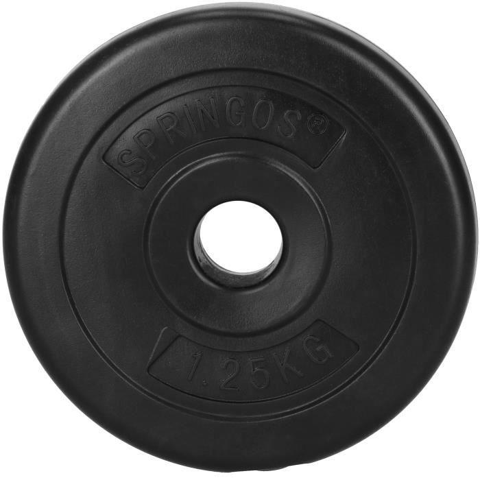 SPRINGOS® Disque 1,5 kg - noir, haltère, poids, musculation