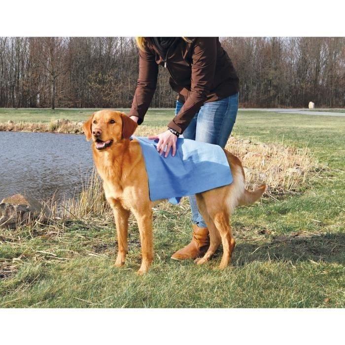 TRIXIE Serviette 66 × 43 cm bleu pour chien