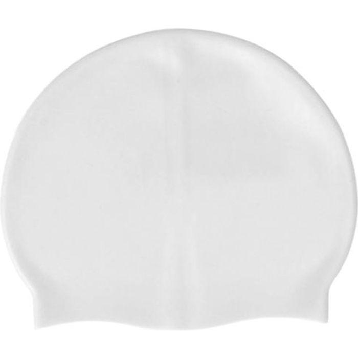 Bonnet de bain en silicone blanc de taille unique