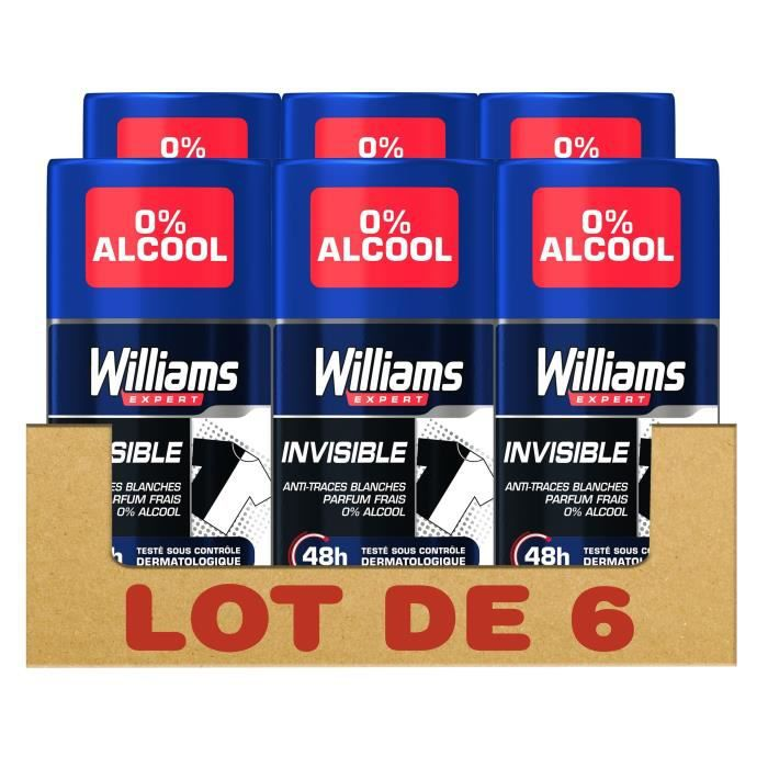 Williams Invisible Déodorant Stick Protection 48H, 75 ml, Lot de 6 - 67654067