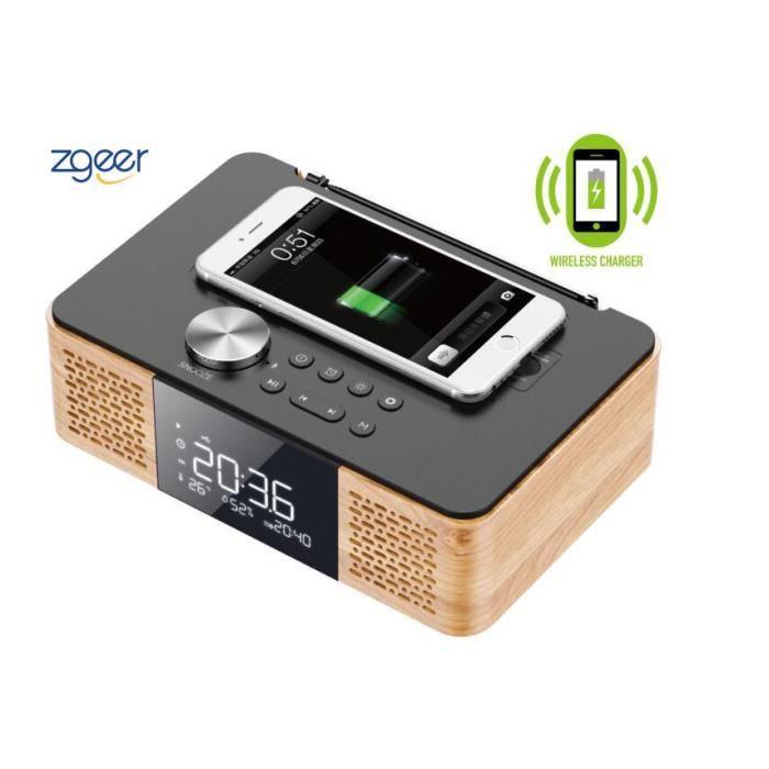 Enceinte bluetooth,Chargeur sans fil,Réveil audio Radio Lecteur multimédia,Enceinte Bluetooth couleur bois,Le dernier 2019