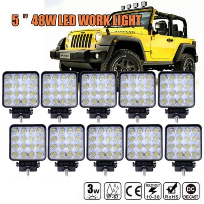 KAWELL 27W Led de Travail Phares CREE Off-road feux antibrouillard Led Projecteur Lumi/ère pour V/éhicule 4x4 Tout-terrain Atv Camion Voiture LED Lampe de chantier