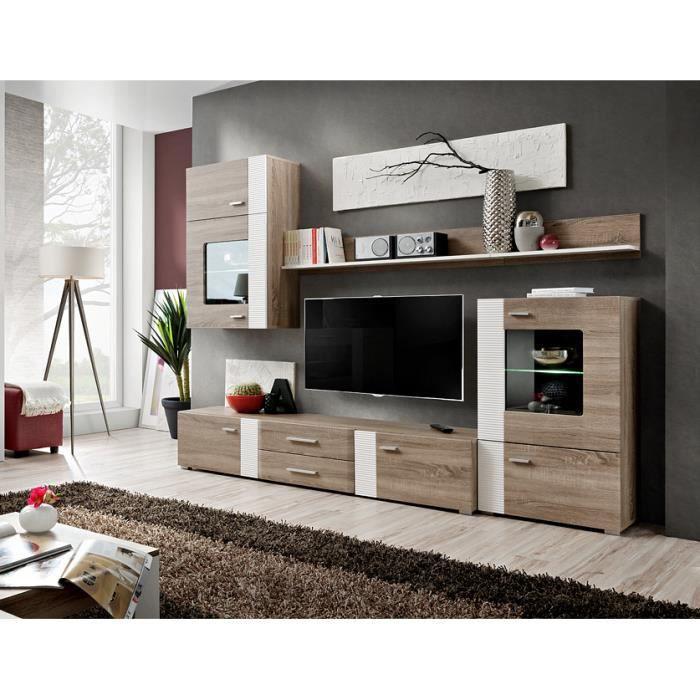 Composition Murale Tv Meuble Tv Suspendu Pour Salon:  Meuble TV Complet Suspendu ALEPPO Coloris Ch Ne Et Blanc
