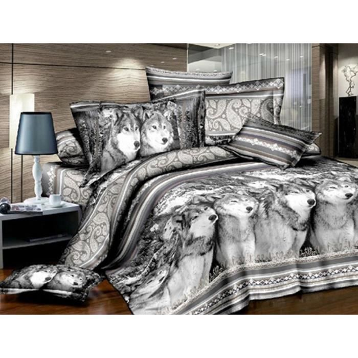 housse de couettes 3d animal draps de lit couette taies d 39 oreiller 4pc 10 achat vente. Black Bedroom Furniture Sets. Home Design Ideas