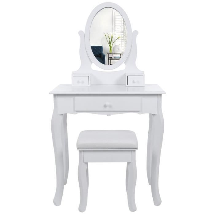 coiffeuse bois avec grand miroir et 3 tiroirs et tabouret table maquillage blanc 1412021 achat. Black Bedroom Furniture Sets. Home Design Ideas