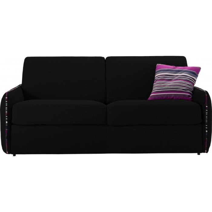 Canap convertible rapido 2 places barbara noir achat vente canap sofa - Canape 7 places convertible ...