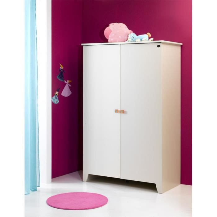 Armoire b b 2 portes calypso blanche blanc achat for Armoire bebe blanche