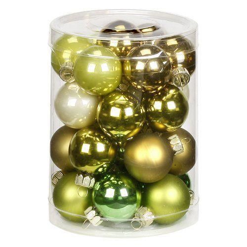 inge glas 15104d001 lot de 28 boules de no l vert jaune 30 mm achat vente boule de no l. Black Bedroom Furniture Sets. Home Design Ideas