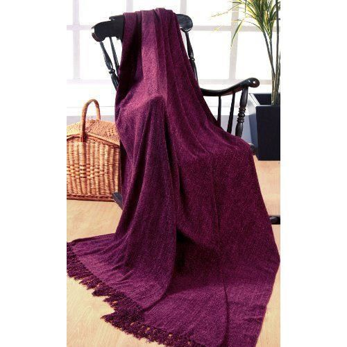 elitehomecollection jet de canap couvre lit en chenille 100 polyester violet 225x250cm. Black Bedroom Furniture Sets. Home Design Ideas