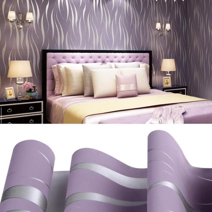 3D rouleaux decoration murale papier violet Impression Non ...