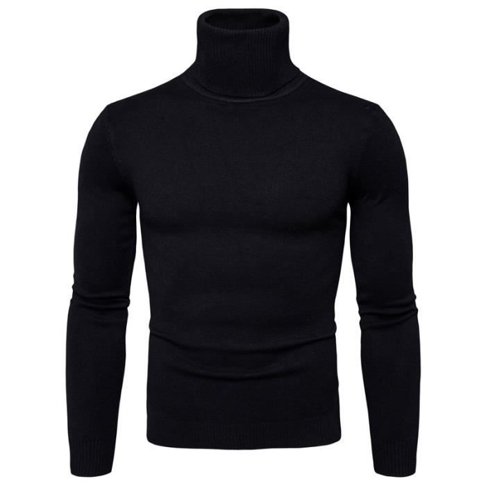 pull homme col roul couleur unie knit pullover automne. Black Bedroom Furniture Sets. Home Design Ideas