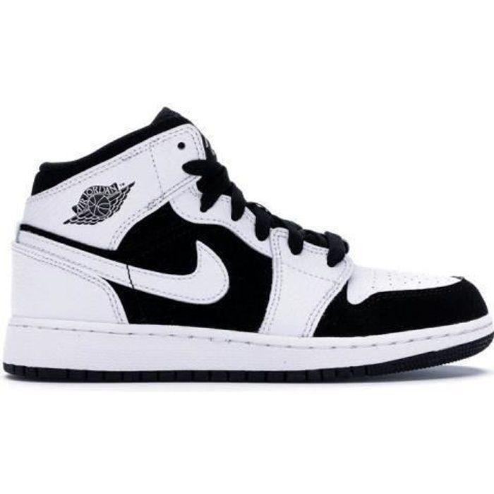 Basket NIKE Air Jordan 1 Mid White Black Jordan one AJ 1 pour ...