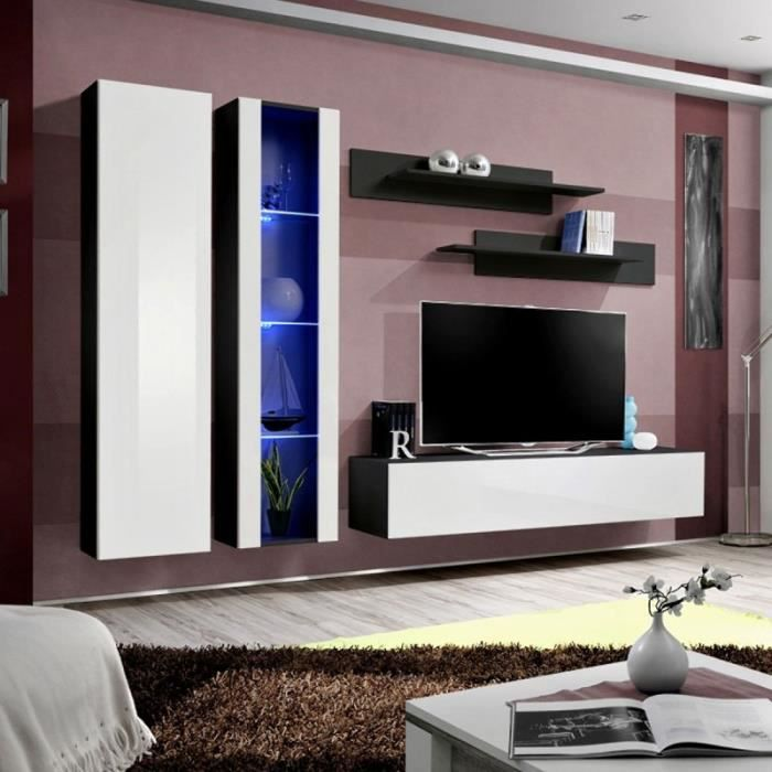 paris prix meuble tv mural design fly iv 260cm blanc noir achat vente meuble tv paris. Black Bedroom Furniture Sets. Home Design Ideas