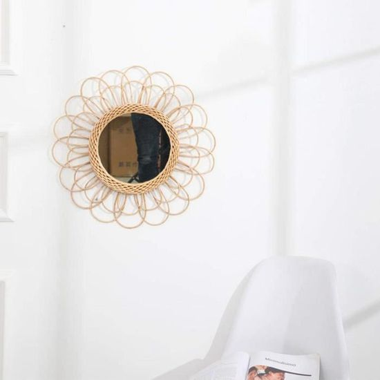 Rond Maquillage Miroir Mural en Osier en Rotin Nordique Suspendu Decoratif pour Salon Mur Cuisine Salle De Bains 40cm Miroir De Soleil