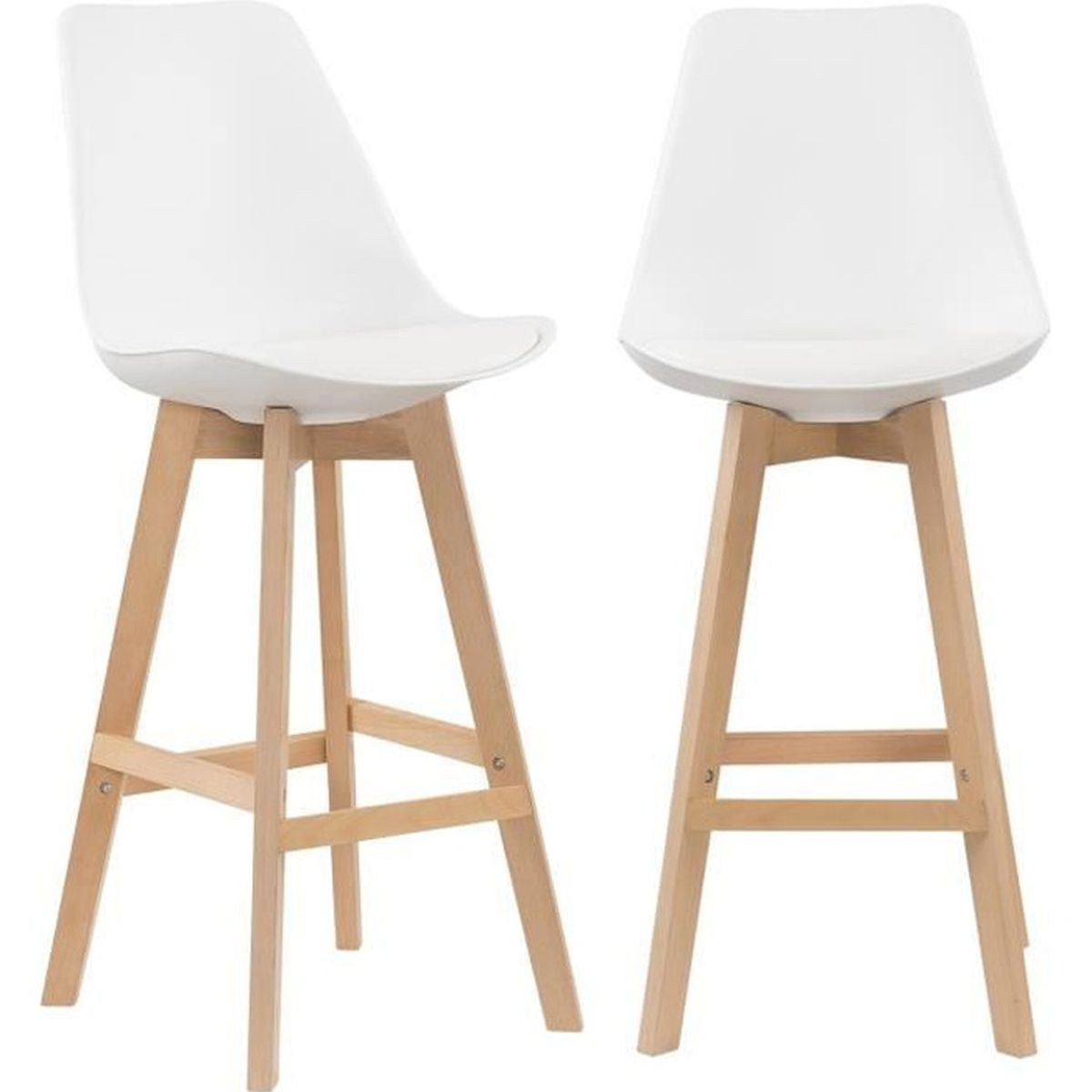 lot de 2 tabourets de bar scandinave blanc pieds en bois achat vente lot de 2 tabourets de. Black Bedroom Furniture Sets. Home Design Ideas