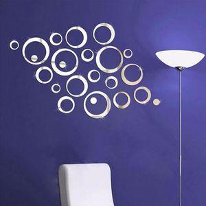 OBJET DÉCORATION MURALE 3D Miroir Art Floral amovible Wall Sticker mural a