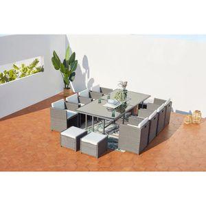 Ensemble table et chaise de jardin MIAMI 12 - Salon de Jardin encastrable 12 places e