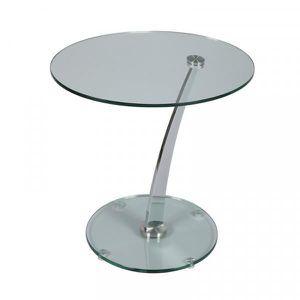 TABLE D'APPOINT Guéridon rond Acier/Verre - GALAS n°7 - Acier - Ve