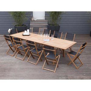 Salon de jardin 10 places : 1 table extensible 210-300cm en ...