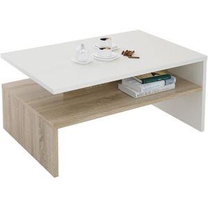 TABLE BASSE Table basse aspect chêne sosona et blanc 90 cm