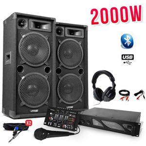 PACK SONO Pack sono 2000W - 2 x Enceintes + Ampli + Table mi