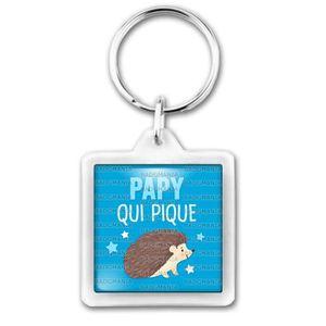 PORTE-CLÉS Porte-Clés Carré Plastique Papy qui Pique - Humour