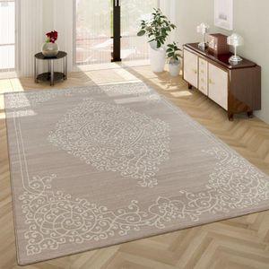 Tapis Salon Classique Motif Oriental Poils Ras Ornements Beige Blanc