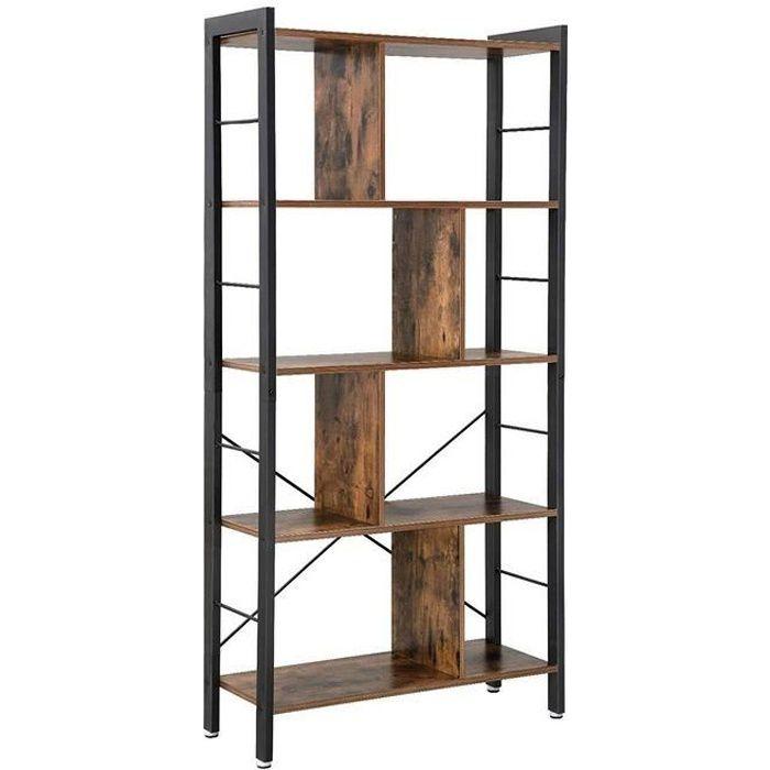 Bibliothèque style industriel-Étagère de rangement à 4 niveaux Meuble de rangement sur pied- 74*30*154.5cm-marron vinatge