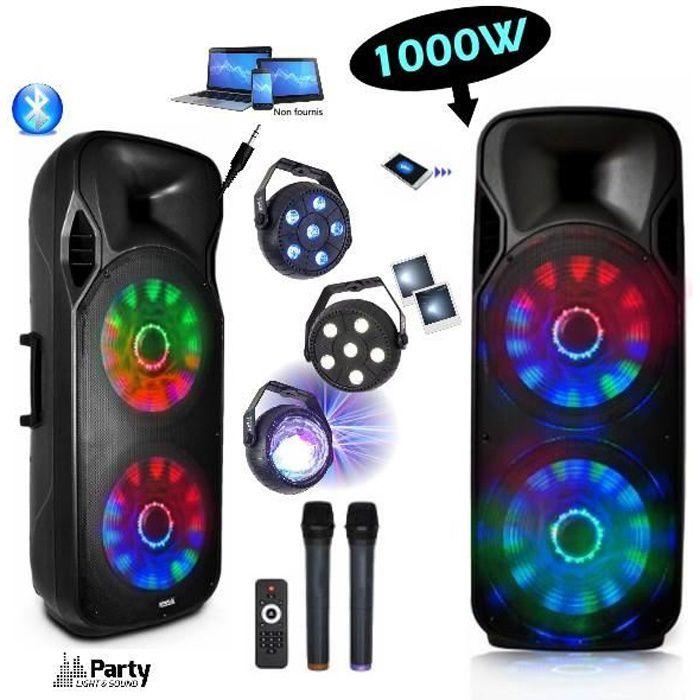 ENCEINTE SONO 1000W BLUETOOTH USB MP3 BATTERIE + 3 Jeux de lumière + 2 Micros sans fil idéal bar club soirée disco mariage