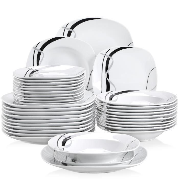 Veweet FIONA 36pcs Assiettes Service de Table Pocelaine Assiettes Plates Assiette Creuse Assiette à Dessert Vaisselles