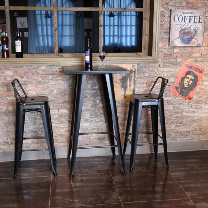 Noir Table Haute Industriel de Bar Table Bistrot Carré Mange-Debout avec Plateau en Bois Pin 60 x 60 x 103 cm