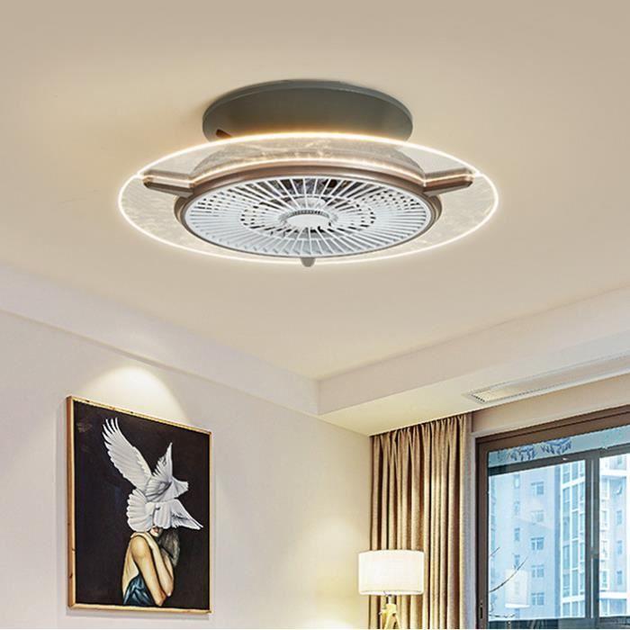 Ventilateur lampe Plafonnier à LED moderne minimaliste chambre salon Dimmbar Transparent Plafonnier à Fan avec télécommande