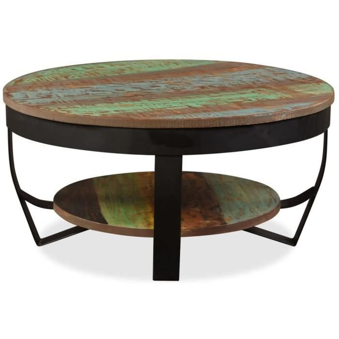 Table Basse Rond - Table de Salon - Table Basse Relevable - Table Basse Industrielle en Bois Massif de Récupération 65 x 32 cm[218]