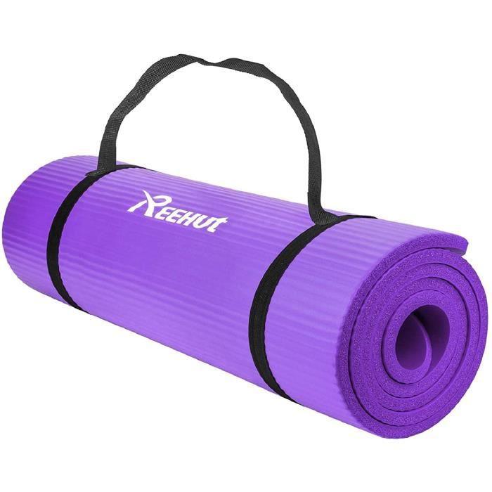 REEHUT Tapis D'exercices de Yoga Violet - 12 mm Très épais NBR Haute Densité
