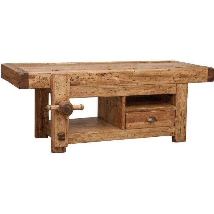 Porte TV en bois massif finition naturelle L120XPR65XH45 - L6213-NT