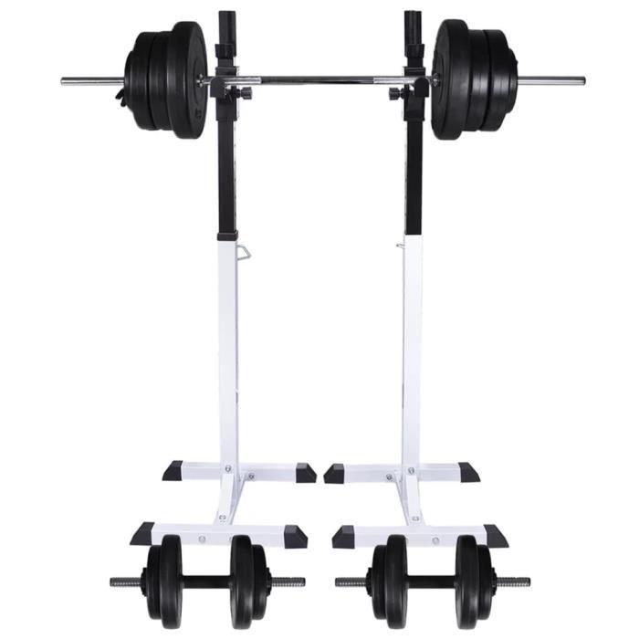 Support d'haltères - Set haltères 60,5 kg - charge max 80 kg - pour fitness d'entraînement - 50 x 48 x (107-165) cm