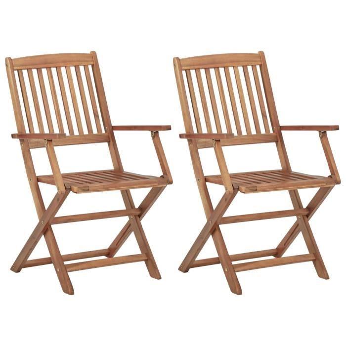 MODERNE 2 pcs Chaises de jardin pliables Bois d'acacia solide - Chaise d'extérieur ,Chaise de terrasse ,Fauteuil ®BRFYOC®